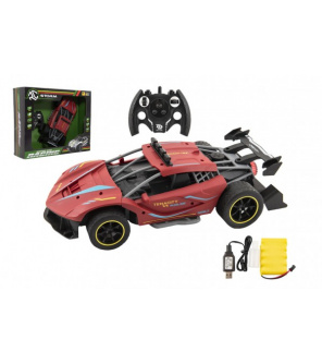 Auto RC Sport červené 33cm plast 2,4GHz na baterie + dobíjecí pack v krabici 43x36x13cm