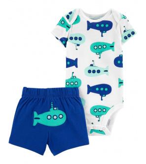 CARTER'S Set 2dílný body kr. rukáv, kalhoty kr. Blue Submarine chlapec 3 m, vel. 62