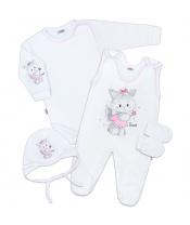 Soupravička 4-dílná New Baby Kočička bílo-růžová