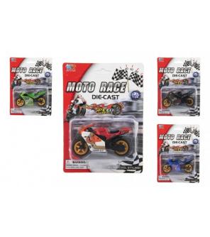 Motorka závodní kov/plast 8cm na volný chod mix druhů na kartě