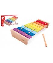 Xylofon duhový dřevo s paličkou 35cm v krabici