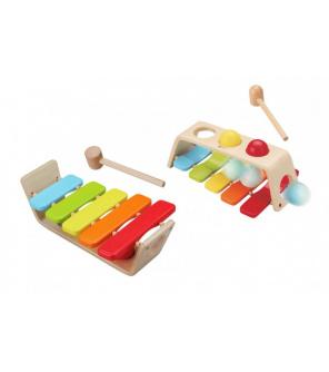 Zatloukačka/Xylofon 2v1 dřevo 29x18cm s kladívkem s koulemi v krabici 30x19x11cm 12m+