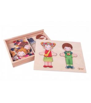 Vkládačka oblékání dřevo holka/kluk 26ks ve fólii 25x19x3,5cm