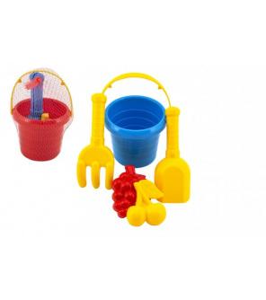 Sada na písek 5ks plast kbelík, lopatka, hrabičky, bábovka 2ks 3 barvy v síťce11x18x11cm 12m+