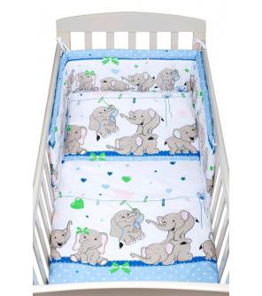 3-dílné ložní povlečení New Baby 90/120 cm modré se sloníky