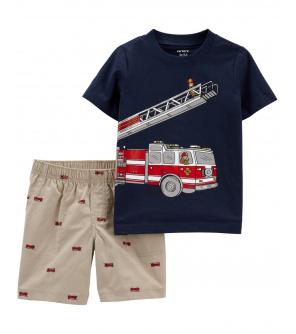 CARTER'S Set 2dílný tričko kr. rukáv, kalhoty kr. Firetruck chlapec 18 m, vel. 86