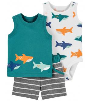 CARTER'S Set 3dílný body tílko, tričko bez rukávů, kalhoty kr. Green Shark chlapec NB, vel. 56