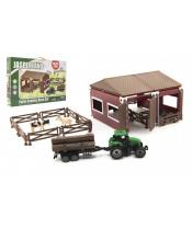Sada domácí farma plast se zvířátky s traktorem 51ks v krabici 45x29x5,5cm