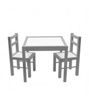 Dětský dřevěný stůl s židličkami New Baby PRIMA šedý