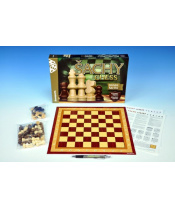 Šachy, dáma, mlýn dřevěné figurky a kameny společenská hra v krabici 35x23x4cm