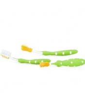 NUBY Zubní kartáčky set 3 ks zelená 3 m+