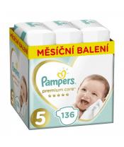 PAMPERS Premium Care 5 JUNIOR 136 ks (11-16 kg) MĚSÍČNÍ ZÁSOBA – jednorázové pleny