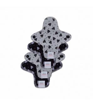 Moon pads mini hearts grey/black 4 ks