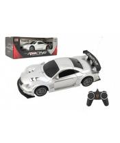 Auto RC sport plast 20cm stříbrné na baterie 27MHz v krabici 26x10x12cm