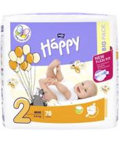 BELLA HAPPY Mini 2 (3-6 kg) Big Pack 78 ks – jednorázové plenky
