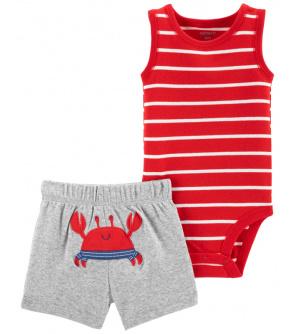CARTER'S Set 2dílný body tílko, kalhoty kr. Red Stripe Crab chlapec 6 m, vel. 68