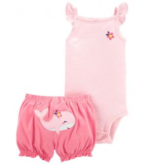 CARTER'S Set 2dílný body tílko, kalhoty kr. Pink Whale dívka 6 m, vel. 68