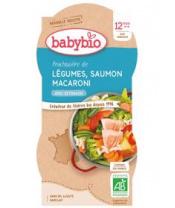 2x BABYBIO Menu jarní zelenina s lososem a makarony (200 g)
