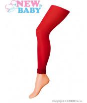 Tenké jednobarevné legínky s krajkou New Baby červené