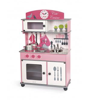 Janod J06565 Dřevěná kuchyňka na kolečkách Cote  růžová s otočnými knoflíky se zvukem a 8 doplňky od 3 let