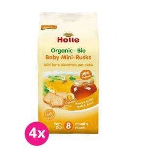 4x HOLLE Dětské špaldové mini suchary, 100 g