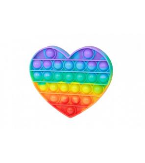 Bubble pops - Praskající bubliny silikon antistresová spol. hra srdce duha 13x11cm v sáčku
