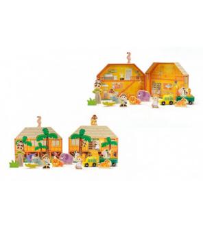 Safari/ZOO figurky dřevo + domeček 16ks ve fólii 27x20x5cm 24m+