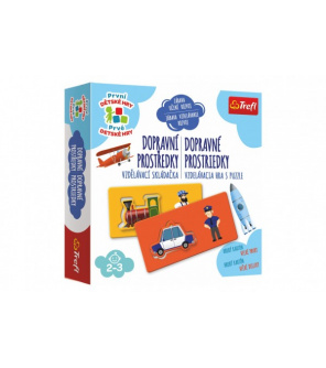 Dopravní prostředky vzdělávací společenská hra pro nejmenší v krabici 20x20x5cm 24m+
