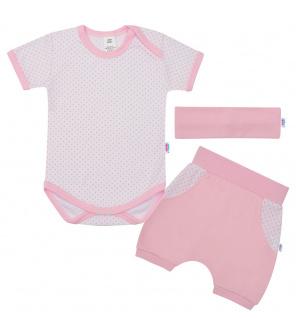 3-dílná letní bavlněná souprava New Baby Perfect Summer světle růžová