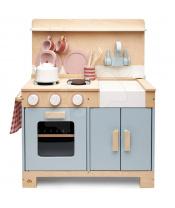 Tender Leaf Toys Dřevěná kuchyňka s chlebem Home Kitchen  s čajníkem, šálky a nádobím