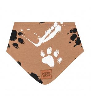 Kojenecký bavlněný šátek na krk New Baby Paw hořčicový M