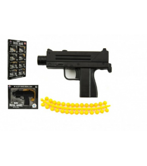 Pistole kov/plast 11cm na kuličky mix druhů v krabičce 15x12cm 8ks v boxu