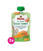 3x HOLLE Veggie Bunny Bio pyré mrkev, batáty a hrášek, 100 g (6 m+)