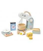 Tender Leaf Toys Dřevěný kuchyňský robot Home baking set s váhou, nádobím a potravinami DOPRODEJ