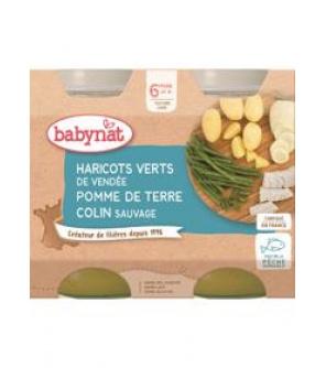 BABYBIO Příkrm brambory a zelené fazolky s mořskou štikou - maso-zeleninový příkrm (2x 200 g)