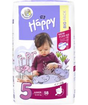 BELLA HAPPY Junior 5 (12-25 kg) Big Pack 58 ks – jednorázové plenky