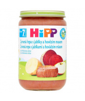 Příkrm zelenino-masový Červená řepa s jablky a hovězím Maas 220g Hipp