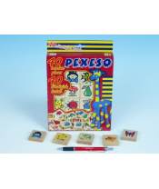 Pexeso dřevo společenská hra 40ks v krabici 17x25x2cm