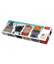 Puzzle kočky s čepicemi panorama 500 dílků 66x23,7cm v krabici 40x13x4cm