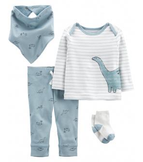 CARTER'S Set 4dílny tričko dl. rukáv, tepláky, ponožky, bryndáček Blue Dino chlapec LBB 6m, vel. 68