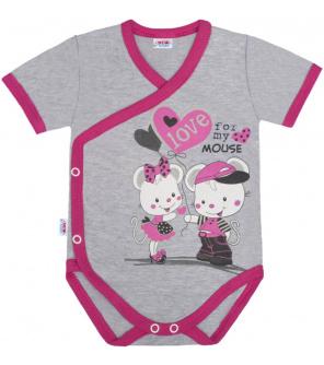 Dětské body s bočním zapínáním krátký rukáv New Baby Love Mouse