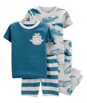 CARTER'S Pyžamo dlouhé a krátké kalhoty, krátký rukáv 2ks Whale chlapec 18m