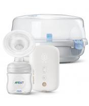 Philips AVENT Odsávačka mateřského mléka elektronická Premium dobíjecí SCF396 + Sterilizator do mikr