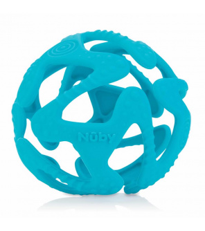 NUBY Kousátko silikonový míč světle modrý 3 m+