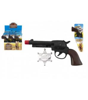Pistole/Kolt klapací + šerifská hvězda kovboj plast 20cm na kartě 12ks v boxu