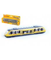 Vlak žlutý RegioJet kov/plast 17cm na volný chod v krabičce 21x9,5x4cm