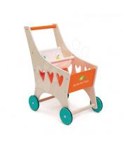 Tender Leaf Toys  Dřevěný nákupní vozík Shopping Cart  s textilní přihrádkou