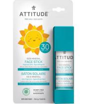 ATTITUDE Dětská 100% minerální ochranná tyčinka na obličej a rty (SPF 30) bez vůně 18,4 g