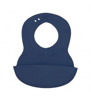 Nastavitelný plastový bryndák s kapsičkou Baby Ono tmavě modrý
