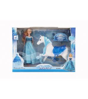 Kůň česací + panenka Ledová princezna plast v krabici 46x33x9cm